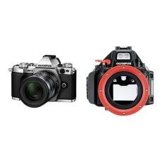 "Olympus E-M5 MarkII - Cámara EVIL de 16.1 Mp (pantalla táctil 3"", estabilizador óptico, grabación de vídeo Full HD), color plata - Kit con objetivo M. Zuiko EZ 12-50 mm f3.5 + Carcasa subacuática para cámara Olympus OM-D E-M5 Mark II"