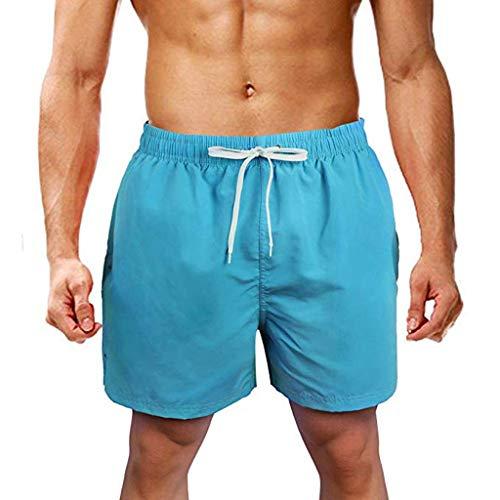 zarupeng‿ Pantalones Cortos para Hombres Pantalones Cortos de Color Liso con Ajuste Recto Pantalones Cortos con Ajuste de natación en la Playa