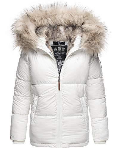 Navahoo - Giacca Invernale Trapuntata da Donna con Cappuccio in Pelliccia Sintetica Tikunaa 6 Colori XS-L Bianco L