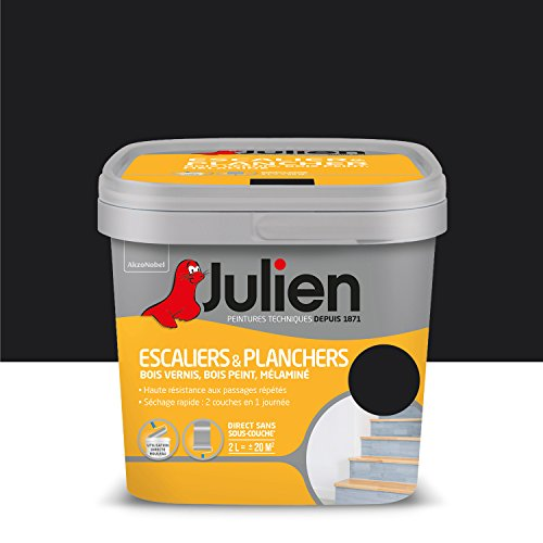 Peinture Julien pour Escaliers & Planchers - Satin Noir 2 L