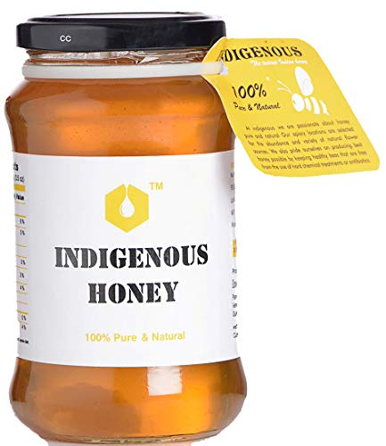 Raw Organic Honey by Indigenous Honey| Unprocessed, Unfiltered, Unpasteurized, Pure Natural Honey| an Ayurvedic Remedy for Weight Loss, Cough and Digestive Disorders. - 500 Grams (Glass Jar)