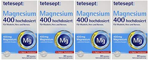 tetesept Magnesium 400 hochdosiert - mit Vitamin B6 - Magnesiumtabletten mit patentierter Rezeptur - zur optimalen Versorgung im Körper - 5 x 30 Tabletten [Nahrungsergänzungsmittel]