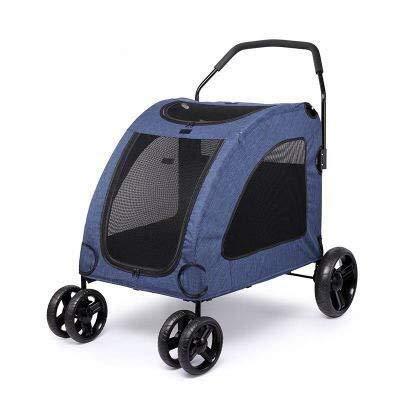 Passeggini per cani Grande Cinque Passeggino Cane Passeggino Facile da installare e Veloce Pieghevole Top Finestra Adatto, for Meno di 50Kg (Color : Blue)