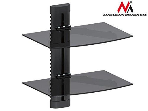 Maclean MC 662mensola mensola di vetro 8kg supporto da parete per DVD Player Mediaplayer Game...