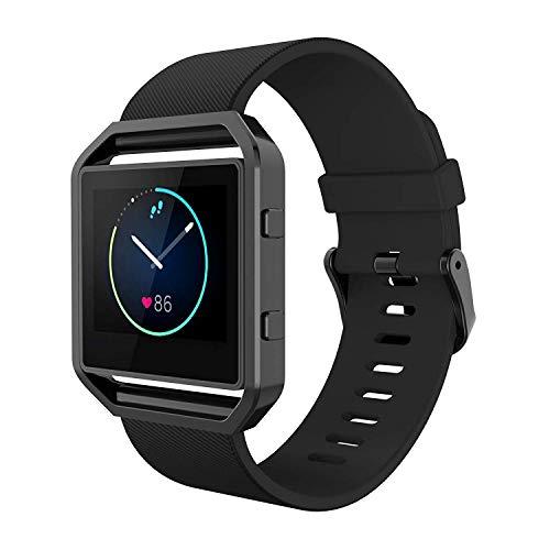 Simpeak Cinturino Compatibile per Fitbit Blaze con Telaio, Silicone Cinturino Sostituzione con Telaio Nero Compatibile con Fit Bit Blaze Smart Fitness Watch, Piccolo, Nero
