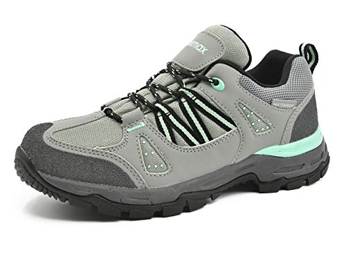 Knixmax-Zapatillas de Senderismo de Mujer, Zapatillas de Montaña Deportivo Calzado de Trekking Escalada Outdoor Zapatos Low-Top Impermeable Antideslizante Gris-Verde 3