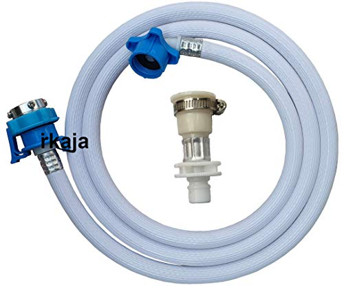 Irkaja 5 Meter Flexible PVC Washing Machine Water Inlet/Inflow Hose Pipe with 2 Type Tap Adapters/Connectors for Front & Top Load Fully Automatic Washing Machines (5 Meter)