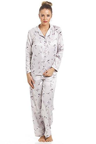 Camille - Conjunto de Pijama Largo - Satén - Color Plateado con Estampado de Mariposas y colibrís 44