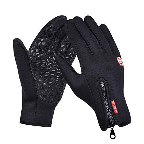 aimdonr Invierno Cálidos Guantes, Wind Proof Guantes para pantalla táctil, Outdoor Ciclismo Correr Escalada Guantes de esquí para hombres mujeres, par de guantes, color Negro, tamaño L