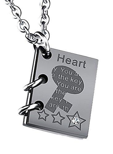 pequeños monelli Collar para Mujer Love Story Colgante en Forma de Libro con Corazón Fine Corta con Funda Elegante de Terciopelo Negro