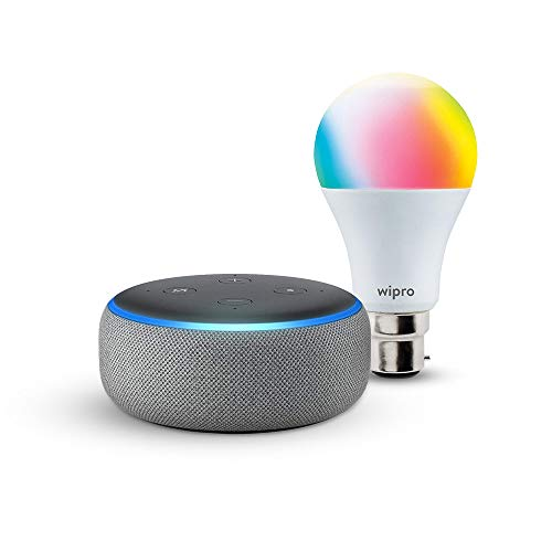 Echo Dot (Grey) bundle with Wipro 9W smart color bulb