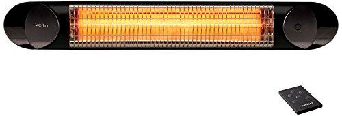 Veito Blade 2000 Waterproof IP55 Wall/Ceiling Mounted Indoor and Outdoor Patio Heater, Black