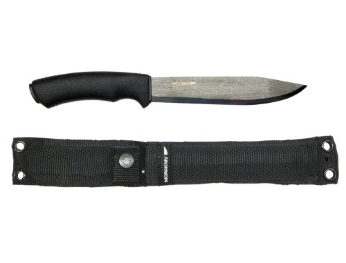 """Morakniv Bushcraft Pathfinder Knife with 6.75-"""" Carbon Steel Blade and Heavy Duty MOLLE-Compatible Sheath"""