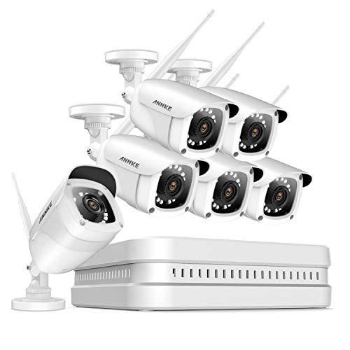 ANNKE Videosorveglianza Kit 6 Telecamere WiFi 1080P 8CH NVR H.264+ HDMI Wireless (4) 2.0MP CCTV Camera IP di Sorveglianza IR-Cut Motion Dection Interno e Esterno-senza HDD