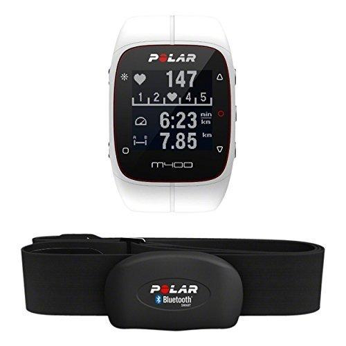 Polar M400 HR - Reloj de entrenamiento con GPS integrado y registro de actividad con sensor de frecuencia cardíaca H7, color blanco apto para varios deportes