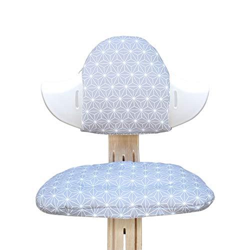 Blausberg Baby - Set cuscini per il seggiolone Nomi di Evomove - Happy Star Grigio