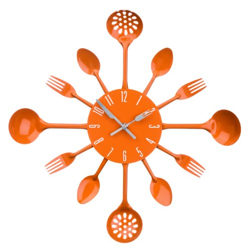 Premier Housewares PREM-2200670 Orologio da Parete, Metallo, Arancio, 33x4x33 cm