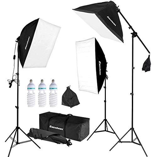 Excelvan Attrezzatura Fotografica Kit 3x Auto Pop-Up Softbox 50 x 67cm con Lampade 3 x 135W e 3x...