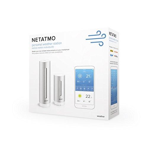 41x1EDiwYlL [Bon Plan Netatmo] Netatmo Station Météo Intérieur Extérieur Connectée Wifi pour Smartphone, Capteur Sans fil, Thermomètre, Hygromètre, Baromètre, Sonomètre, Qualité de l'air - Compatible avec Amazon Alexa, NWS01-EC