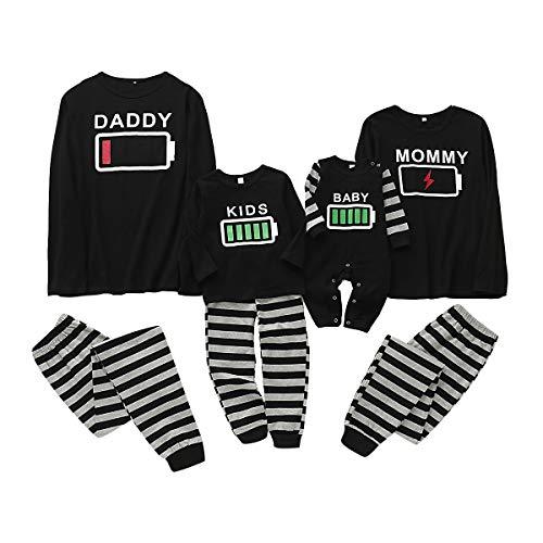Haokaini Conjunto de Pijamas a Juego de la Familia de Navidad Conjunto de Pijamas de Ropa de Dormir de batería para Mujeres Hombres niño bebé
