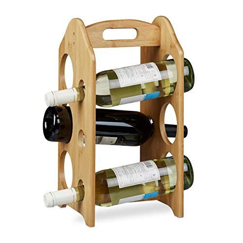 Relaxdays 10020243 Cantinetta per Vino 6 Bottiglie, Legno, Marrone, 20x20x40 cm