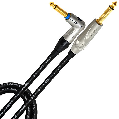 5 Meter - Van Damme Pro Grade Classic XKE Instrument - Amphenol Gold Plated Silent Plug - Guitar, Bass, Instrument Cable - Straight to Angled(Silent plug) Amphenol Gold TS (6.35mm) Connectors