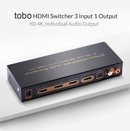 HDMI Switch Audio Extractor Splitter with Remote, 3 Port HDMI Switcher with Optical Toslink SPDIF & RCA L/R Audio Out