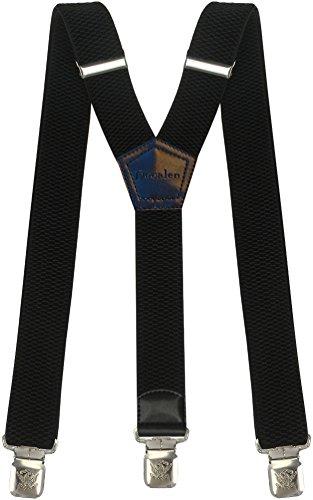 Tirantes Hombre Elásticos Ancho 40 mm con clips extra fuerte totalmente adjustable todos los colores (Negro)