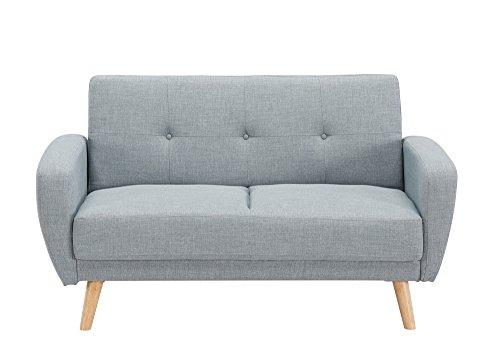 Divano scandinavo 2 posti trasformabile in letto, di colore grigio