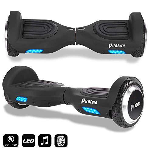Phaewo Hoverboard 6.5' Smart Self Balance Scooter con Bluetooth, Overboard con LED Autobilanciato...