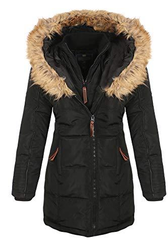 Geographical Norway Belissima - Parka invernale da donna, con cappuccio in pelliccia, XL Nero L