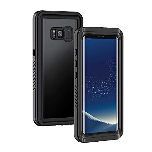 Lanhiem für Samsung Galaxy S8 wasserdichte Hülle, [IP68 Zertifiziert Wasserdicht] Handy Hülle mit Eingebautem Displayschutz, Stoßfest Staubdicht und Schneefest Outdoor Schutzhülle - Schwarz