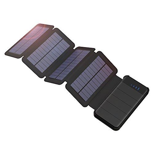 GIARIDE 10000mAh Staccabile Caricatore Solare Portatile Dual USB(5V 2A) Power Bank 4 Pannelli Solari...