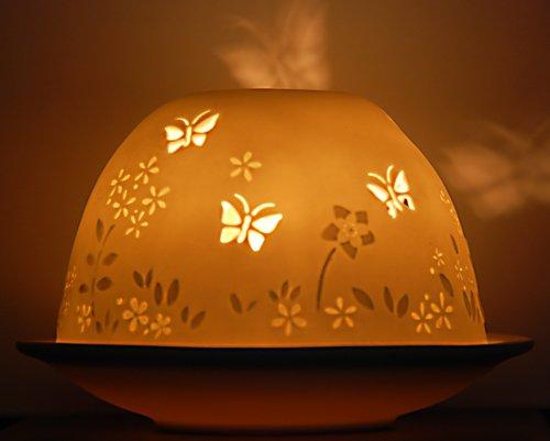 Portavelas de té de flores y mariposas pocelana vela de olor bolsa de organza