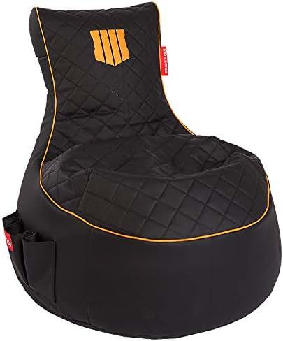 GAMEWAREZ Call of Duty : Black Ops 4 Limited Edition Gaming Sitzsack, Made in Germany, für PS4, XboxOne, Smartphone, Schwarzes Kunstleder mit orangem Keder, Stick
