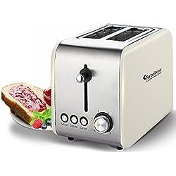 2 Scheiben Retro Toaster mit Brötchenaufsatz Vintage Design Edelstahl 850 Watt inklusive Krümelblech Creme
