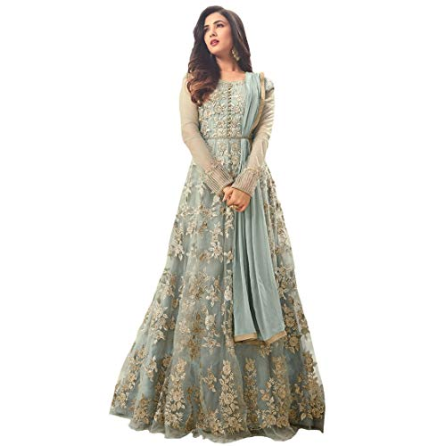 HomeDeal Women's Net Anarkali Semi-Stiched Gown (Grey)