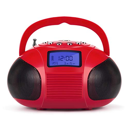 August SE20 Radio portatile con altoparlante Bluetooth, Rosso
