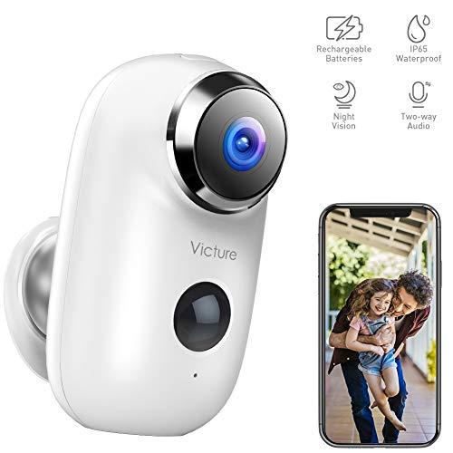 Victure 1080P Telecamera di Videosorveglianza Wi-Fi Esterna Telecamera batteria senza Fili con PIR Rilevamento del Movimento Audio Bidirezionale IR Visione Notturna IP65 Impermeabile