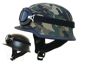 ATO-Helme WHG Oldtimer Motorradhelm mit Fliegerbrille Wehrmachtshelm Camouflage oder Schwarz matt 15