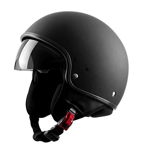Westt Vintage Jethelm Motorradhelm Helm - Retro Stil - Matt Schwarz - ECE Zertifiziert
