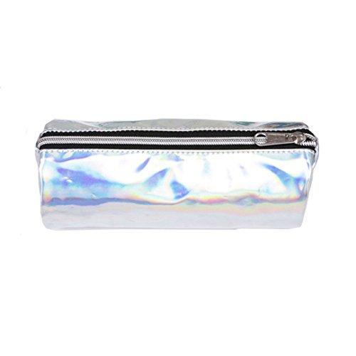 Ashdown, astuccio con chiusura lampo, porta penne, borsa per i trucchi, effetto olografico silver...