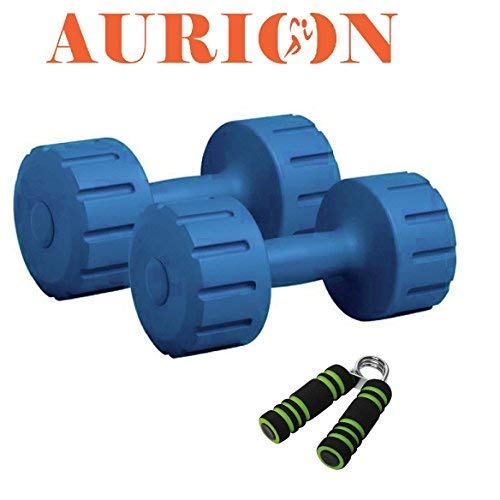 AURION M2+SOTGRIP-X 1 Hand Dumbbells Weights Fitness Home Gym Exercise Barbell 1kg, 2kg, 3kg, 4kg, 5kg Set (Pack of 2) Light Heavy Ladies Mens Dumbbells (Blue)