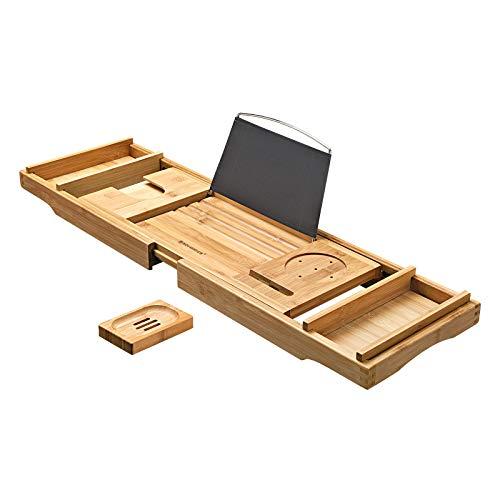 SONGMICS ausziehbare Badewannenablage aus Bambus verstellbares Badewannenbrett Badewannen Ablagen, mit Getränkehalter, Buchstütze, Seifenhalter 75-109 x 4,5 x 23 cm (B x H x T) BCB88Y