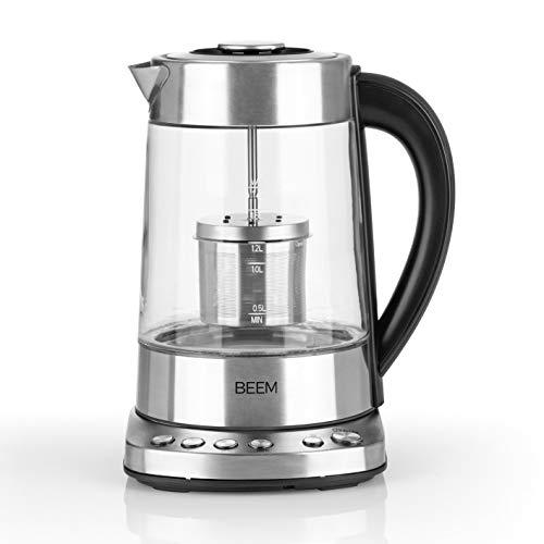 Beem Teatime Wasserkocher-1,7 l | Integriertes Teesieb | Edelstahl | Warmhaltefunktion |4 individuelle Tee-Programme (70|80|90|100° C)