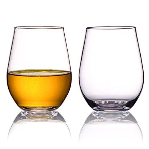 MICHLEY Bicchieri da Vino Senza Stelo 550 ml Set da 4 Tritan-plastica infrangibile Bicchieri di Vino Rosso Lavabile in lavastoviglie