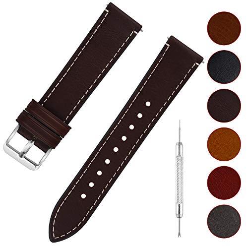 Fullmosa 6 Colori per Cinturino di Ricambio, Wax Pelle Cinturino con Quick Release Pin 14mm 16mm 18mm 20mm 22mm 24mm, 22mm caffè + Fibbia Argento