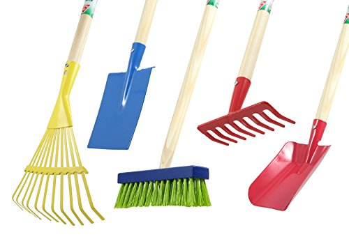 Agrarflora Kinder-Gartengeräte Set 5-teilig: Rechen, Fächerbesen, Spaten, Schaufel, Besen - Gartenwerkzeug-Set, Spielzeug-Set für den Garten, Das ideale Geschenk für Kinder