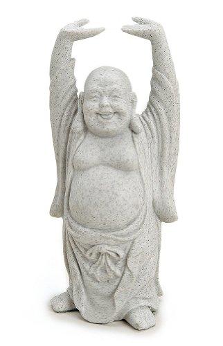 Figura decorativa Happy Buda figura de pie en piedra (polirresina gris, 16cm Grande, Estatua Dicker Mönchengladbach lachend, suerte Buda Budai 3