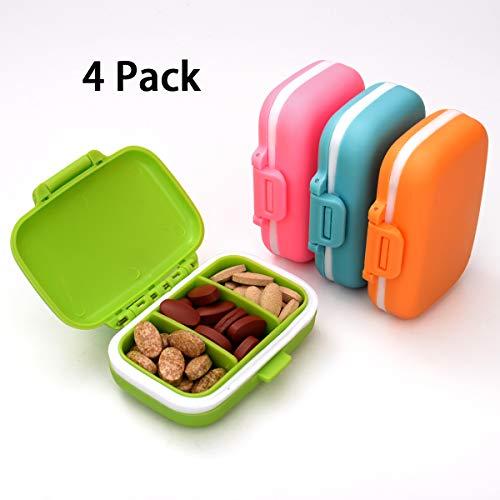 LAOYE 4 Farben Pillenbox 3 Fächer Pillendose Klein Tablettenbox mit 3 Abnehmbare Fächern, 4 Stück Vitamin Tablettendose/Medikamentenbox für Reise & täglichen Gebrauch, 8 x 5 x 2,5 cm